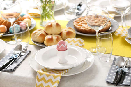 Festive Easter table setting with traditional meal