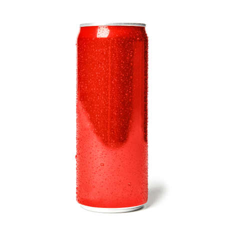 Blank metal red can on white background. Mock up for design