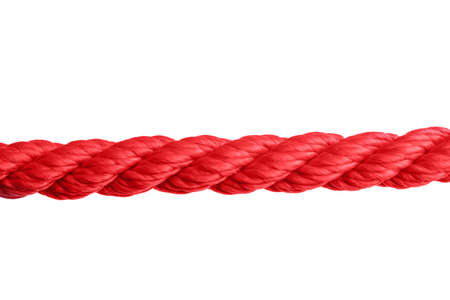 Strong red climbing rope on white background