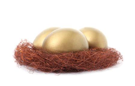 Golden eggs in nest on white background