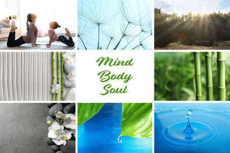 Collage of different beautiful pictures and text Mind, Body, Soul. Zen, balance, harmony