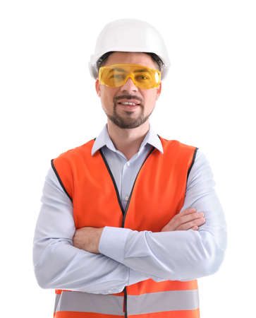 Male industrial engineer in uniform on white background. Safety equipment