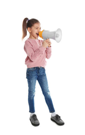 Cute funny girl with megaphone on white background Imagens