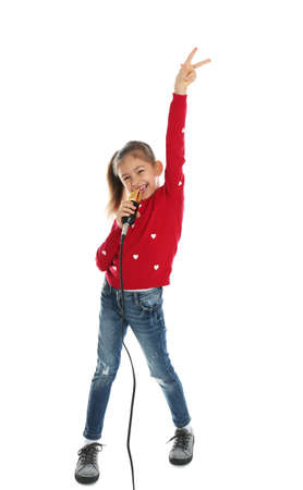 Cute funny girl with microphone on white background Imagens