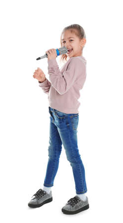 Cute funny girl with microphone on white background