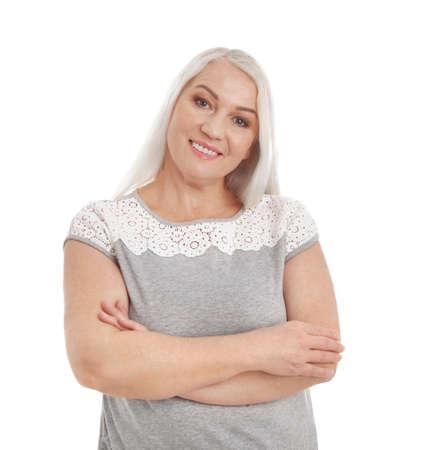 Portrait of mature woman isolated on white Zdjęcie Seryjne