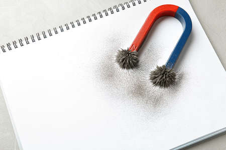 Magnet with iron powder on notebook, top view. Space for text Stock Photo