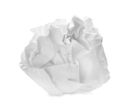 Crumpled sheet of paper on white background Stockfoto