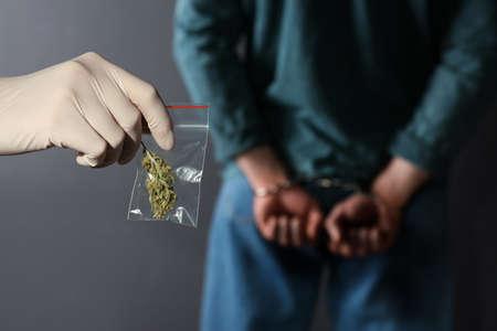 Police worker holding hemp in plastic bag near arrested drug dealer on color background Stock Photo