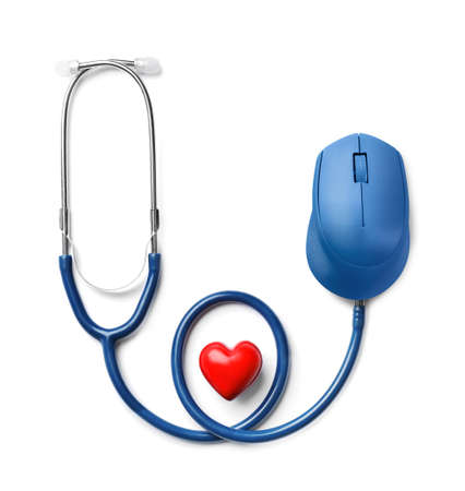 Stethoscope with computer mouse and heart on white background. Online medical consultation