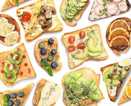 Set of delicious toasts with chia seeds and different toppings on white background, top view