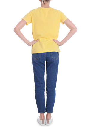 Young slim woman on white background, closeup. Weight loss Imagens