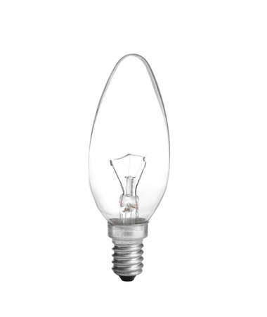 New incandescent light bulb for modern lamps on white background 스톡 콘텐츠