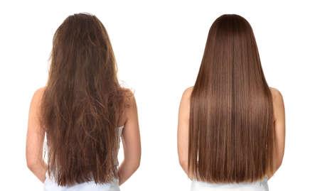 Frau vor und nach der Haarbehandlung auf weißem Hintergrund