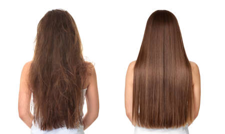 Woman before and after hair treatment on white background 免版税图像 - 118831025