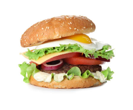 Tasty burger with fried egg on white background Stock fotó