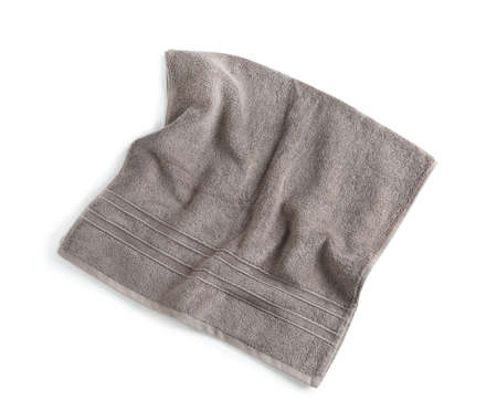 Soft towel isolated on white, top view