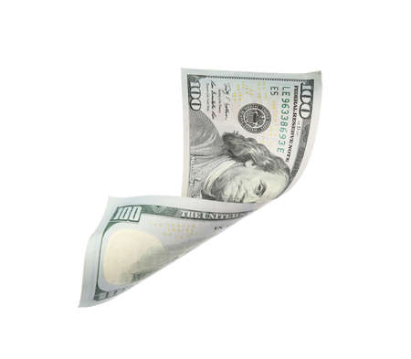 One hundred dollar banknote on white background. American national currency