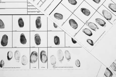 Fingerprint record sheets, top view. Criminal investigation