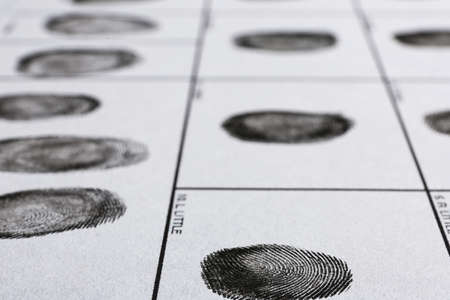 Fingerprint record sheet, closeup view. Criminal investigation Stockfoto