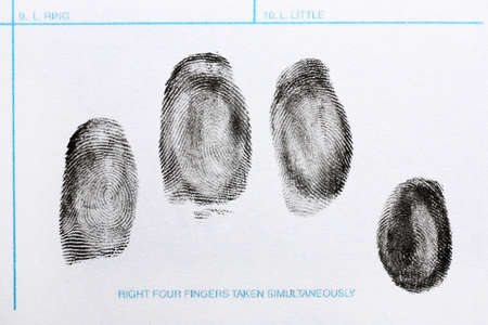 Fingerprint record sheet, top view. Criminal investigation Stok Fotoğraf