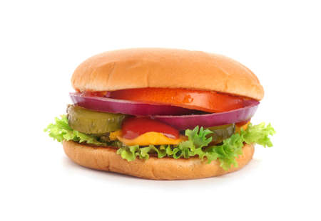 Tasty burger on white background. Traditional American food