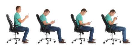 Collage des Mannes, der auf Stuhl sitzt und Handy vor weißem Hintergrund benutzt. Haltungskonzept