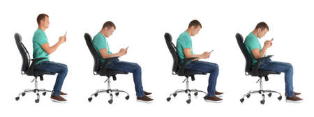 Collage of man sitting on chair and using mobile phone against white background. Posture concept