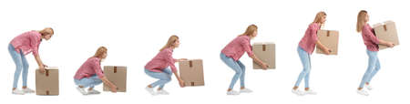 Collage of woman lifting heavy cardboard box on white background. Posture concept Banco de Imagens