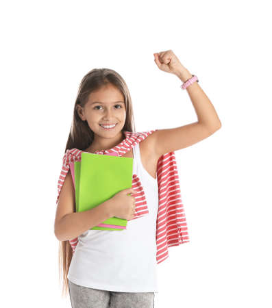 Emotional preteen girl with notebooks against white background