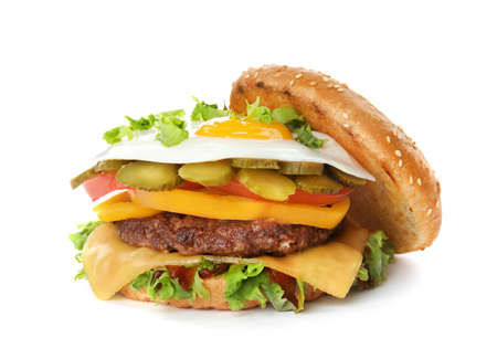Tasty burger with fried egg on white background Stock Photo
