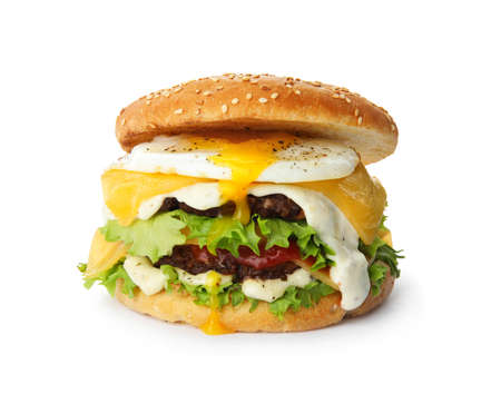 Tasty burger with fried egg on white background 写真素材