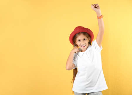 Portrait of emotional preteen girl against color background. Space for text