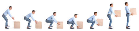 Collage of man lifting heavy cardboard box on white background. Posture concept