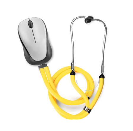 Stethoscope with computer mouse on white background. Online medical consultation Stock Photo