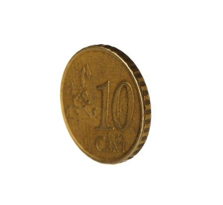 Ten euro cent coin on white background Stok Fotoğraf