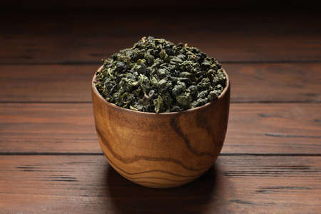 Bowl of Tie Guan Yin oolong tea leaves on wooden table