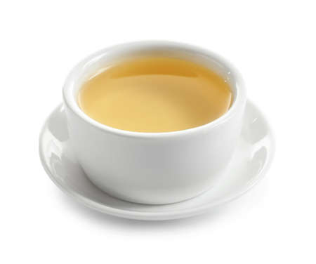 Cup of freshly brewed oolong tea on white background 版權商用圖片
