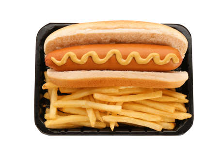 Container with hot dog and French fries on white background, top view. Traditional American food
