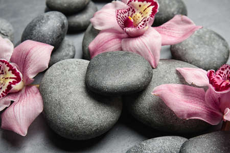 Zen stones and exotic flowers on dark background, closeup