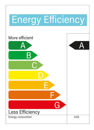 Illustration of energy efficiency rating. Electric power consumption Reklamní fotografie