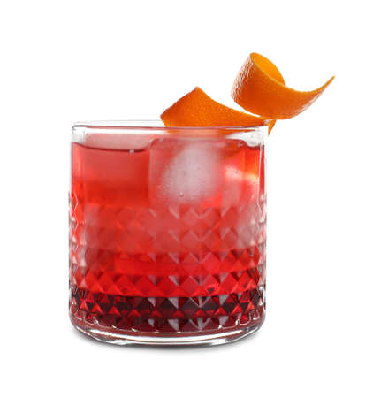 Glass of tasty refreshing cocktail on white background