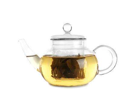 Teapot of freshly brewed oolong on white background