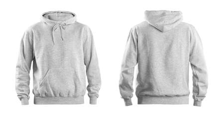 Set of stylish hoodie sweater on white background, front and back view. Space for design 版權商用圖片