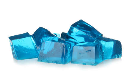 Heap of blue jelly cubes on white background Banque d'images