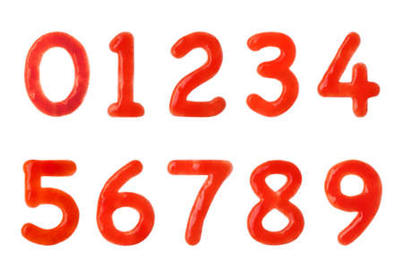 Creative numbers made of tomato sauce on white background
