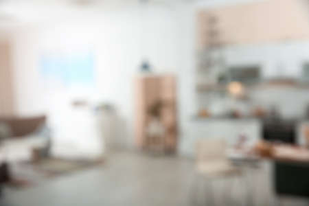 Blurred view of apartment interior with bokeh effect 版權商用圖片