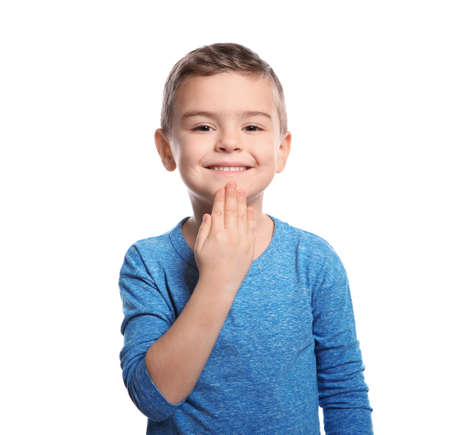 Little boy showing THANK YOU gesture in sign language on white background