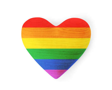 Rainbow heart on white background, top view. Gay community
