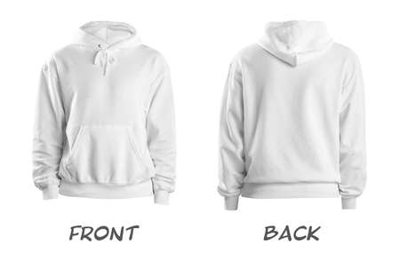 Set of stylish hoodie sweater on white background, front and back view. Space for design Foto de archivo